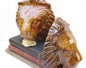Vintage Royal Haeger Bookends Mid Century Ceramic Lions Faces Pair Set of 2