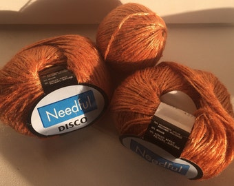 3 balls of Needful Yarns Disco yarn destash
