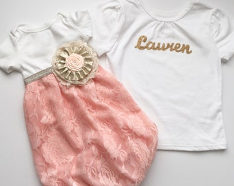Shabby Chic Sister outfits----baby GOWN in lace and sister personalized shirt in gold glitter... New baby-- baby shower