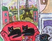 FOLK ART PAINTING, Black Cats in Paris with Roses for a Peaceful Rest, A C E O, S F A by D M Laughlin