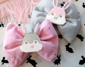 Easter Laser Cut Acrylic Bunny Rabbit Head Pastel Pink and Silver Sparkle Hair Bows