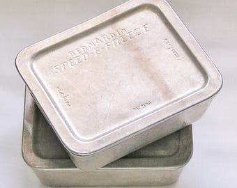Bernardin Speed-E-Freeze Containers Vintage Pint Sized Aluminum Refrigerator and Freezer Storage Dishes, Set of 2 pans and 2 lids