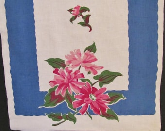 Towel // Linen Dish Towel Blue with Pink Flowers
