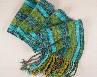 Handwoven and Handpainted Turquoise/Lime Stripes Rayon Chenille Scarf
