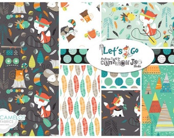Camelot Cottons Lets Go Off the Trail FQ Bundle 18 pcs Foxes Racoons Light Turquoise OOP