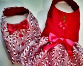 Dog Dress:Candy Cane Christmas Holiday Dress Harness  Matches Our Candy Cane Vest