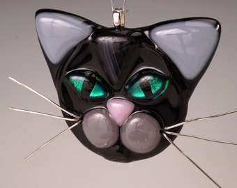 Black cat with gray ears, cat glass ornament, cat lover, black cat