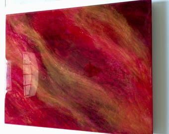 "Cherry Red Resin Fluid Painting on 16"" x 20"" Cradled Hardboard"