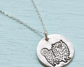 ON SALE CHOW chow dog silver pendant - illustration by Gemma Correll - handmade sterling silver necklace by Chocolate and Steel