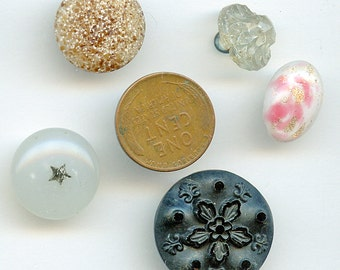 Victorian Buttons Glass (6) DIFFERENT COLORS  Vintage Various Shapes and Sizes Lot Antique 3101