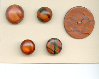 Vintage Lot of (5) Coordinating Celluloid Buttons Brown Copper 3133