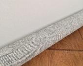 LIGHT gray wool draft snake / custom size draft stopper / gray herringbone door draft stopper