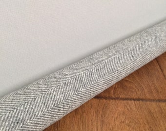 LIGHT gray wool draft snake / custom size draft stopper / gray herringbone door draft stopper