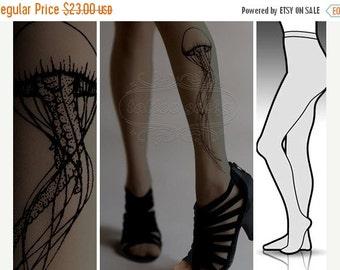Yay-HolidaysSale:))) S/M Dark Grey sexy Jellyfish tattoo tights / stockings /  full length  / pantyhose / nylons