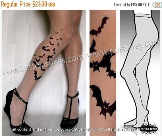 ON SALE/////// l/xl sexy BATS tattoo tights / stockings/ full length / pantyhose / nylons Light Mocha