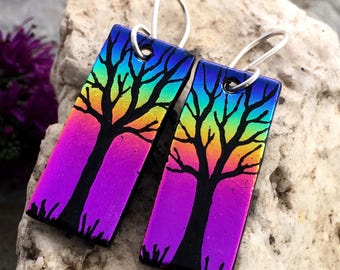 Tree Earrings Dichroic Hand Etched Fused Glass with Sterling Silver Hooks Pink Rainbow
