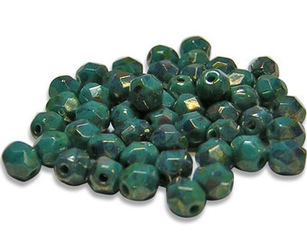 Czech Fire Polished Beads 4mm Persian Turquoise Bronze Picasso Round Czech Beads 50pcs (2172) Czech Picasso Beads Czech Glass Beads