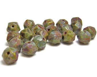 English Cut Beads - 8mm Beads - Czech Glass Beads - Czech Picasso Beads - Round Beads - Rough Cut - Faceted - 20pcs (1219)