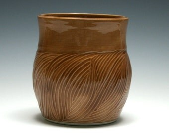 Light Brown Vase, Wood Grain Pattern, Pencil Holder, Handmade Ceramics, Brown Pottery Vase, Home Decor