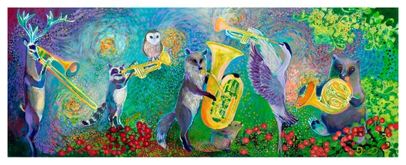 Wildlife Quintet - Art Print Reproduction by Jenlo