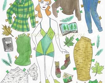 Tara of the Trees paper doll 8.5 x 11 print by Amanda Laurel Atkins