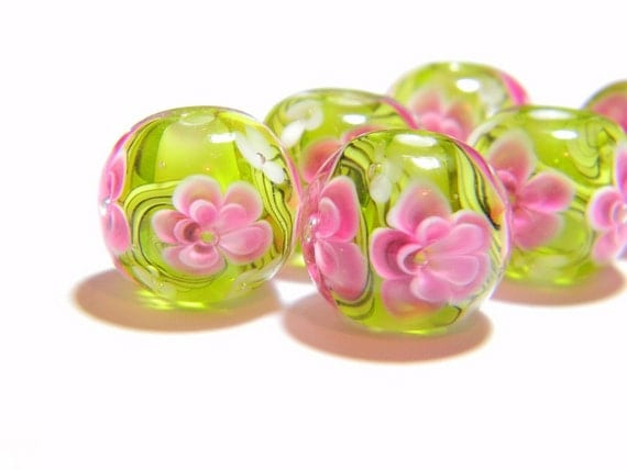 Pink and Green Florals - Lampwork Glass Beads - MADE TO ORDER