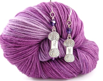 Swarovski Crystal Earrings in Amethyst with Yarn Charm
