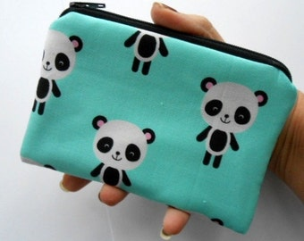 Zipper Coin Purse Zipper Pouch Little Padded Coin Purse ECO Friendly NEW Pandas on Aqua
