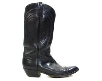 70s Handmade Cowboy Boots / Stuart Boot Co Tucson AZ / Vintage 1970s Black Leather Western Boots / Women's size 11  / Men's size 9.5