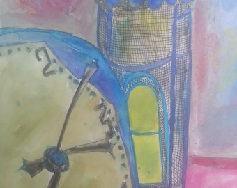 """Unique pen and ink, acrylic painting on foam board, """"Clocks"""", large painting, very unusual"""