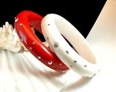 Birthday Sale White and Red Bangle Bracelets With Rhinestones Vintage Bracelets 1970 Red and White Acrylic Bangles Costume Jewelry Set of Tw