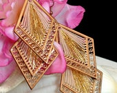 Boho Gold Tone Dangle Earrings Gold Woven Earrings Vintage Boho Earrings 1980 Dangle Earrings Costume Jewelry