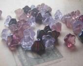 Lilac Flower Beads Czech Glass 6 x 8 mm Bell Flower 20 Beads