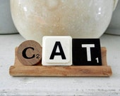 Cat Sign Vintage Game Pieces Scrabble Tray Alphabet Letters Display Sign