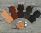 Leather Earbud Holder / Cord Cable Earbud Earphone Headphone Organizer Cord Keeper Wrap