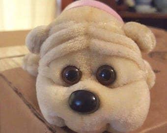Vintage Tara Toys Kennel Kuddlees adorable Mini Tan stuffed Bulldog