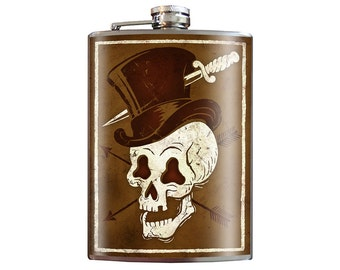 Skull Hat- top hat dagger wedding birthday gift - 8oz Stainless Steel Flask - comes in a GIFT BOX -  by Trixie & Milo