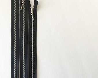 "14"" metal black zipper with decorative zipper pull- set of 5"