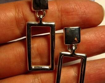 SALE TODAY Long Vintage 1980s Signed Anne Klein Designer Silver Tone Pierced Geometric Door Knocker Earrings