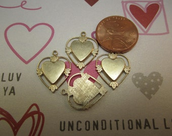 Heart Charms,Open Frame,Leaf Clusters,Textured Back,Brass Valentine,Quantity Choice