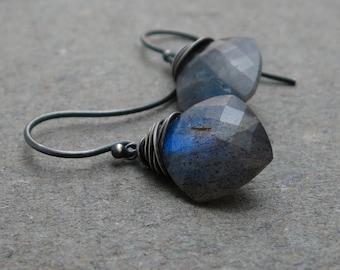 Labradorite Earrings Blue Flash Oxidized Sterling Silver Cushion Cut Labradorite Gift for Her Diamond Shape Geometric Jewelry