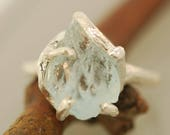 For Aloe Free form Branchy Aquamarine Ring, Raw  Aquamarine, Rough Stone Ring, Twig Ring,