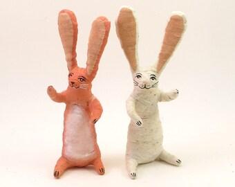 Spun Cotton Vintage Inspired Sitting Bunny Rabbit Figure