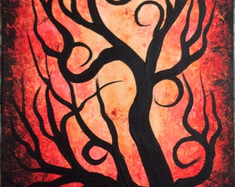 TREE painting, Red Tree, Curly tree, Original Acrylic painting, Modern Art by Jordanka Yaretz