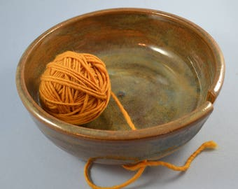 Hand made stoneware yarn bowl for knitters and crocheters