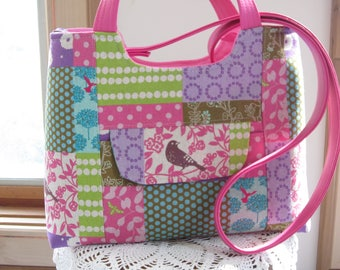 Echino Linen Birds FAUX leather purse, Bagstock Rose handbag Handmade handbags Mother's Day Gift Spring Handbag