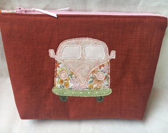 Rust Linen-Look Zippered Pouch, VW Bus for Hippie Chicks