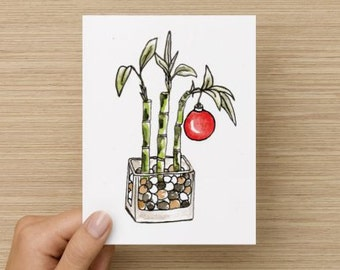 Asian Bamboo With Holiday Ornament Recycled Paper Folded Christmas Card