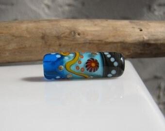 Blue Transition lampwork focal bead~ handmade glass bead SRA lampwork- Art Glass bead