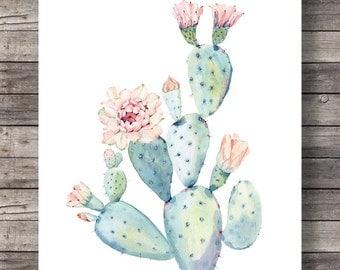 Cacti art print | Pastel Watercolor cactus | Printable art | Hand painted watercolor cactus |  decor Printable wall art cactus